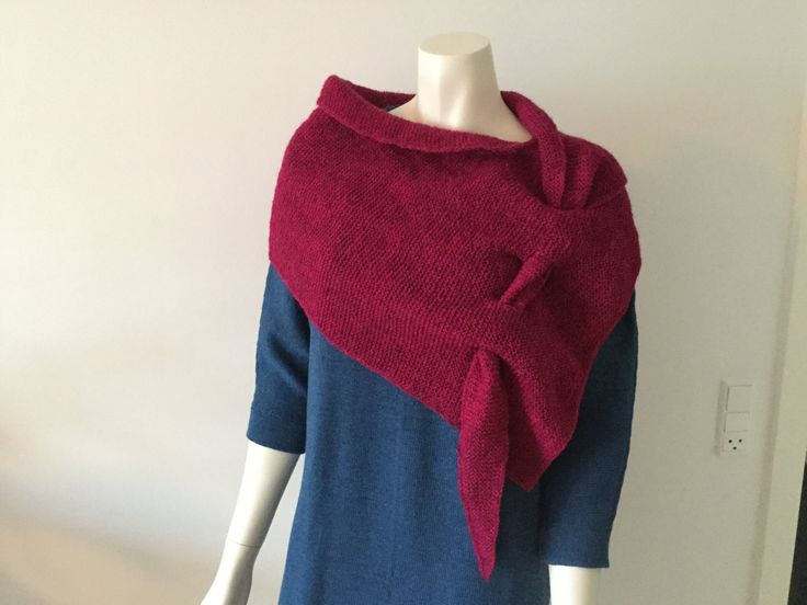 Hand knitted triangle shawl/scarf with key holes by Made4Umnn on Etsy