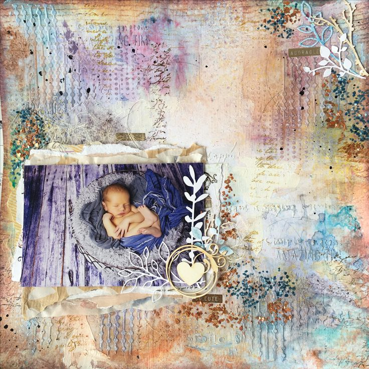 Mixed media baby boy page on Domestic Goddess paper, using 13arts products