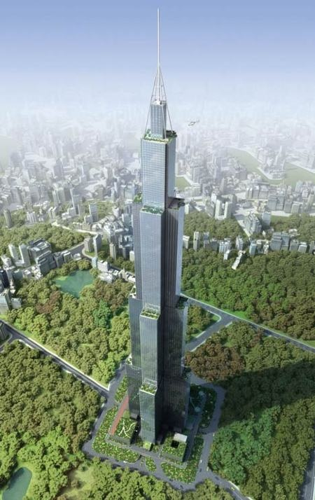 Sky City  Changsha, China. Sustainable feature: The 220-story skyscraper will be the first in the world to use a prefabricated structure at such a large-scale. The developers behind the project, Broad Sustainable Building, say that this type of construction is the cleanest, fastest, and cheapest building technology yet to be implemented.