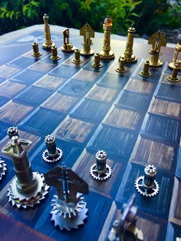 Stunning Handmade/Handpainted Steampunk Chess Set (play - The Brass Caliper - 5