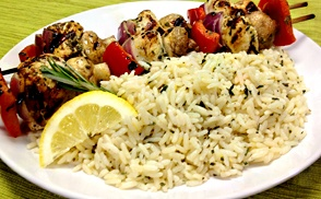 Chicken and Vegetable Kabobs with Lemon Herb Rice Pilaf #unclebensrecipes: Uncle Ben, Ben Recipe, Recipe Chicken