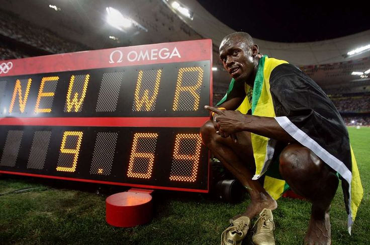 Usain Bolt: 16 fast facts about the fastest man in the world:  August 12, 2016  -     The same year, he won a phenomenal three gold medals at the 2008 Olympic Games in Beijing, China, becoming the first man in Olympic history to win both the 100 meters and 200 meters with the record times of 9.69 seconds and 19.30 seconds, respectively. When he won both the races in the 2012 Games, he became the first athlete to win consecutive Olympic 100 meters and 200 meters titles.
