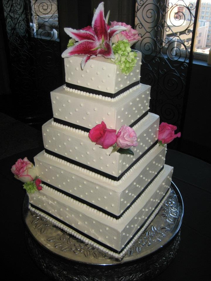 Custom Square Wedding Cake From The Fort Worth Club Buttercream Dots Ribbon Fresh