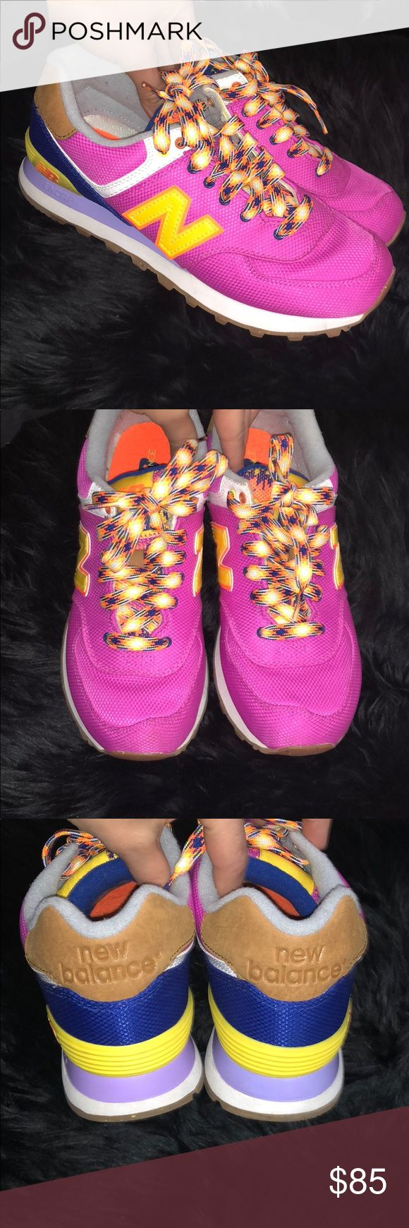 New balance purple/yellow sneakers size 8 Like New no box  Upper Mesh / synthetic leather New balance 574 genuine new balance WL574 EXB purple/yellow women's sneakers New Balance Shoes Sneakers