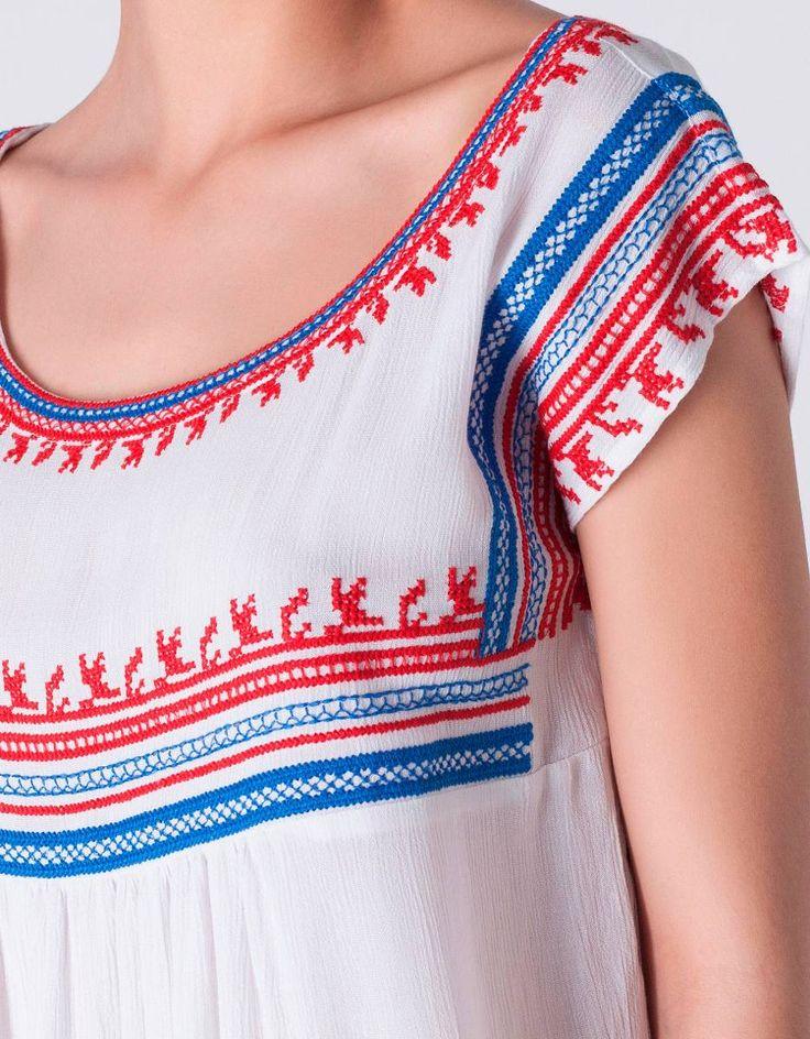 blusa bordada en punto de cruz ropa fina moda 2016
