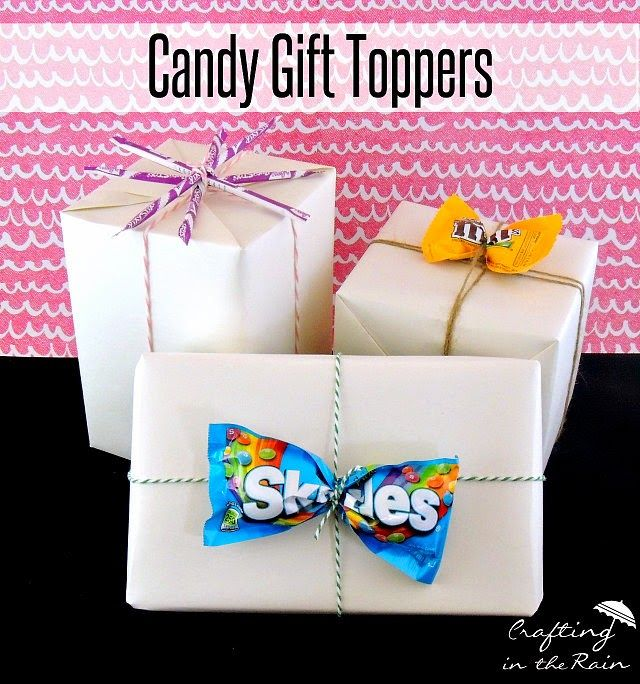 Love this creative idea for gift toppers using candy from Crafting in the Rain