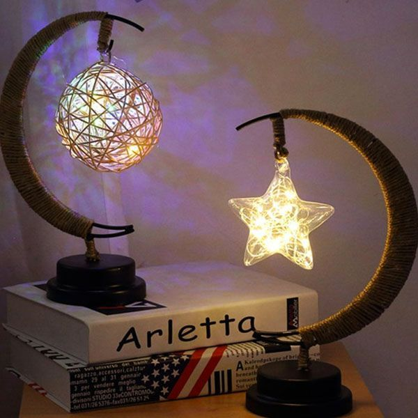 Cast A Warm Glow Over The Occasion A Dreamy Alternative To A Standard Table Lamp Our Half Moon Fairy Light Lamp Is Perfect Moon Light Lamp Night Light Decor