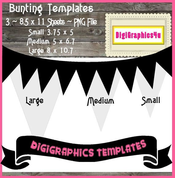 Bunting Pennant Template Instant Download PNG by DigiGraphics4u 3 different sizes ~ $5.59