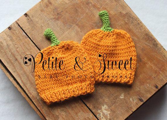 Newborn Pumpkin Knit Hat: Newborn Photography Prop/ Ready To Ship on Etsy, $18.00 CAD