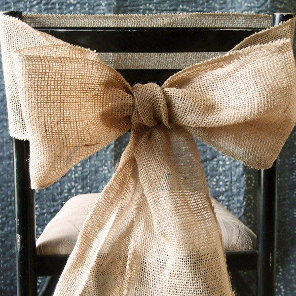 Adorable burlap chair sash in natural coloring. Add a rustic touch to your special event with this cute burlap chair sash. A pretty way to decorate your chairs while completing a natural presentation
