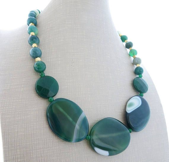 Collana verde collana di agata grande collana audace