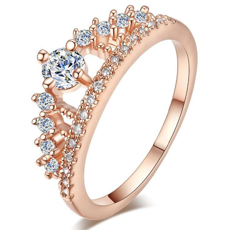 TUKER Anillo de Compromiso Del Partido 2016 Nueva Moda Rhinestone Crystal Crown Anillos Plateados Astilla De la Mujer Linda Elegante de Lujo Del Partido