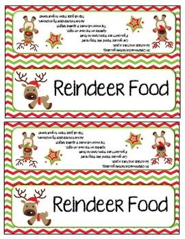 Reindeer food bag toppers and labels.... Cute poem!