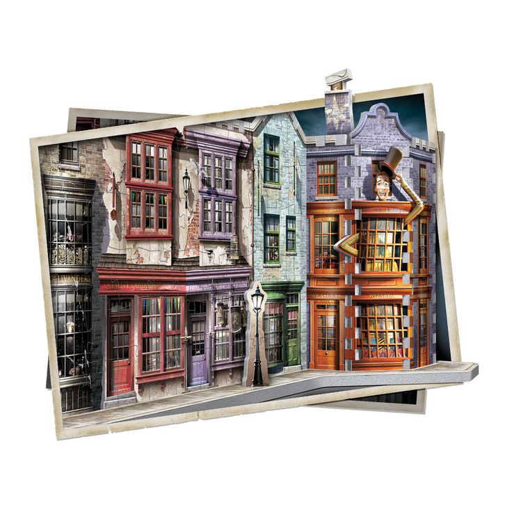 Going through a brick wall or using Floo Powder to access Diagon Alley isn't necessary anymore. This 450-piece 3D puzzle gives muggles full access to a hidden side of London. Discover a unique range of mythical shops where young wizards find their school supplies and more. Whether it's for a wand at Ollivanders, books at Flourish & Blotts or simply for fun at Weasleys' Wizard Wheezes, you're sure to find what you're looking for!