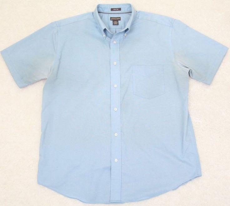 Blue Dress Shirt St. John's Bay Blue Short Sleeve Mens Large Cotton Polyester #StJohnsBay #ButtonFront