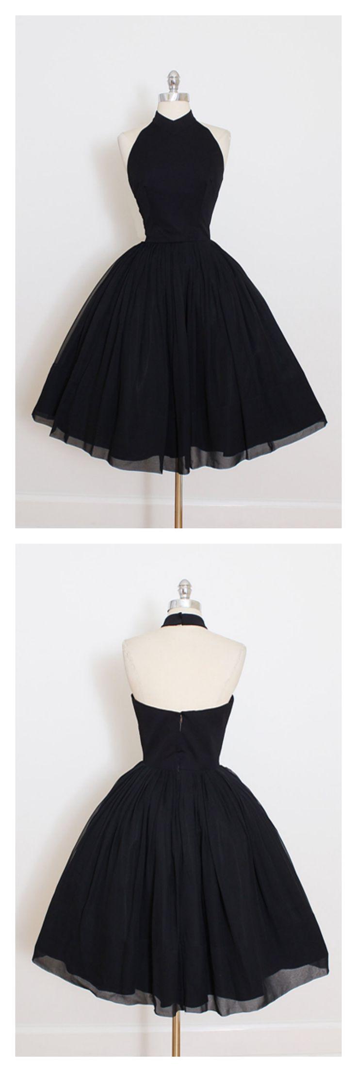 black short prom dresses, 2017 high neck homecoming dresses, vintage party dresses