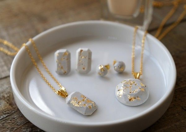 DIY concrete jewelry with gold-leaf accents
