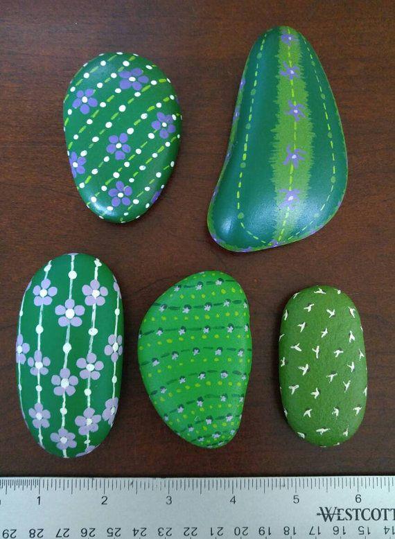 Purple Cactus Medley painted stones set of by SarasJungleCreations