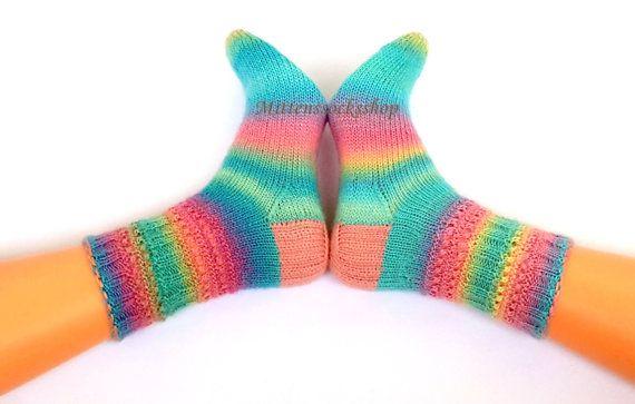 Hand knitted socks Warm socks from batic yarn Warm winter socks Blue pink yellow striped socks Bright girl's socks Colorful womens socks
