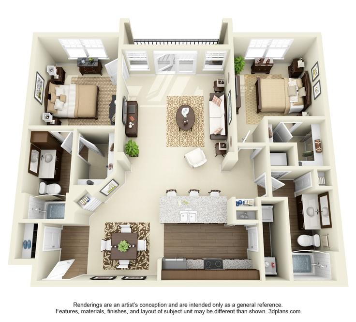 Windsor Floor Plan: 2 bd / 2 ba - 1202 Sq. Ft.