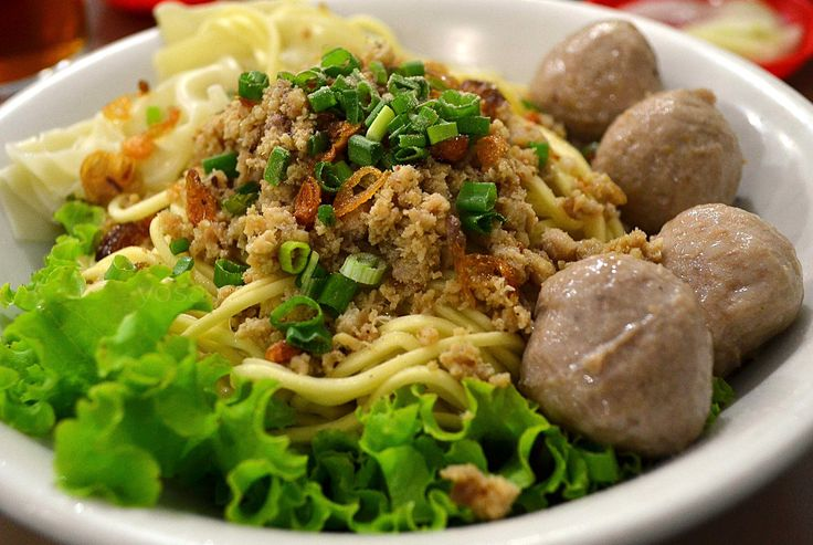 This is bakso meat balls used in another recipe. If you freeze the extra balls you can simply make a noodle dish with them another time.