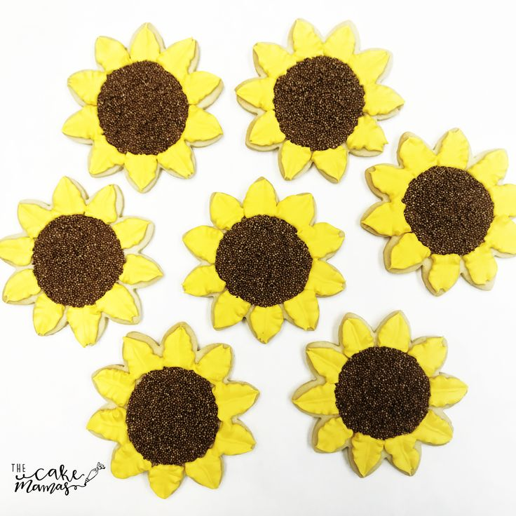 Sunflower Cookies! Call or email to book your custom cookies today! #sunflowercookies #sunflowers #birthday #cookies #celebrate #party