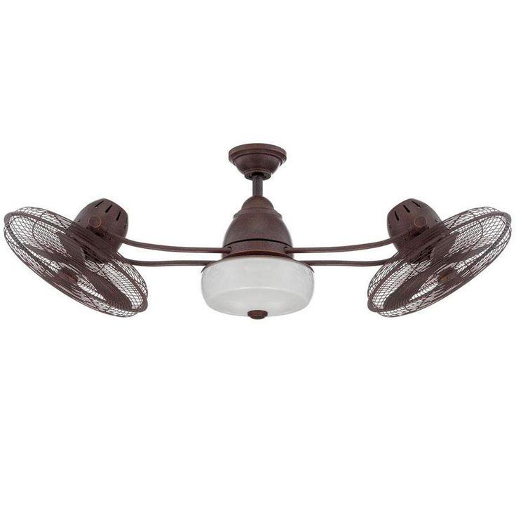 48 Quot Retro Industrial Dual Head Ceiling Fan Dual Ceiling