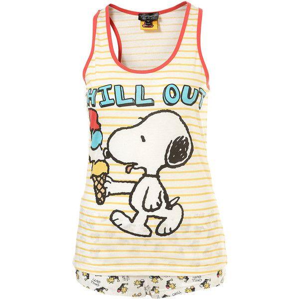 Snoopy Peanut Shorts And Stripe Vest Pj Set ❤ liked on Polyvore