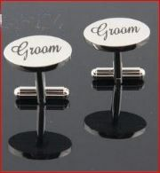Make a statement and have some fun with these  High Quality Silver plated resin on copper cufflinks. Wording reads Groom.  Size is approx. 2 cms -  Match these with cufflinks for your Bestman  & your groomsmen for a stylish look. All 3 different cufflinks are the same size These make a great gift for your male attendants.. They can be worn at the Buck's party as well as at the Wedding