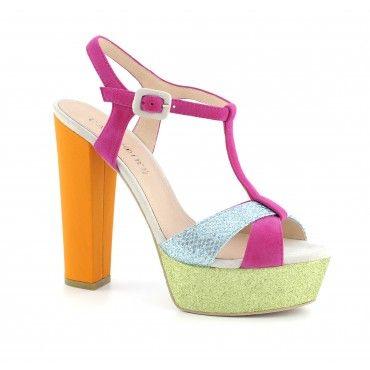Sandalo in tessuto Glitter dalla linea retrò - Scarpe, borse, accessori, abbigliamento donna e uomo