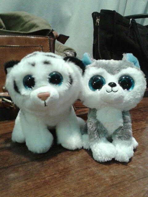 Muñecos de peluche.Husky Siberiano y Trigre blanco