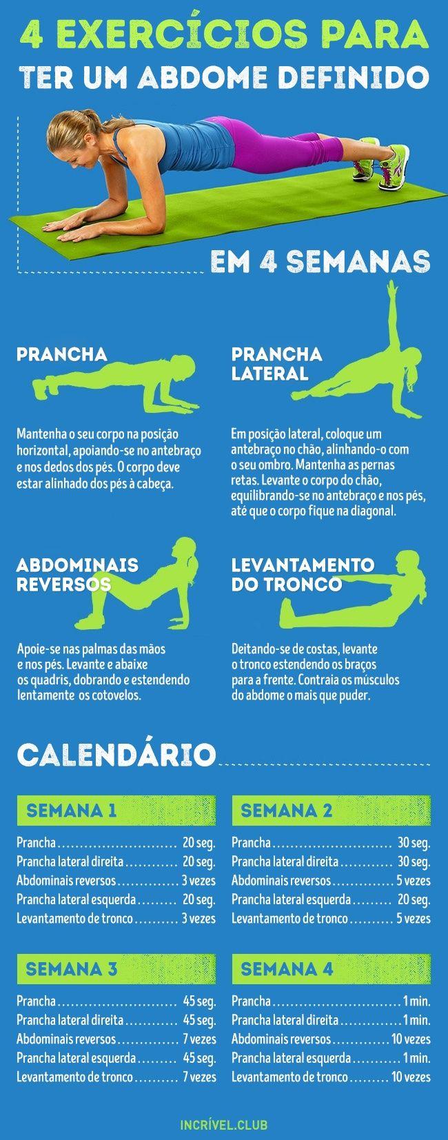 4 exercícios para obter uma barriga chapada em apenas 4 semanas