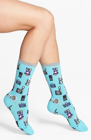 Oh no! They're currently out of stock! :(  Hot Sox 'Cameras' Crew Socks (3 for $15) | Nordstrom