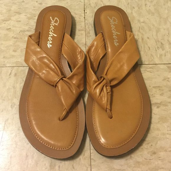Tan sketchers slippers Barely used, no flaws! Skechers Shoes Flats & Loafers