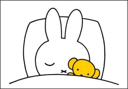 Ansichtkaart Nijntje slaapt Illustratie van Dick Bruna slapen kaart kinderkamerdecoratie.