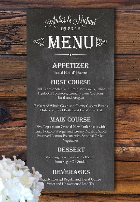 Chalkboard Looking Menu Card from rusticweddingchic.com