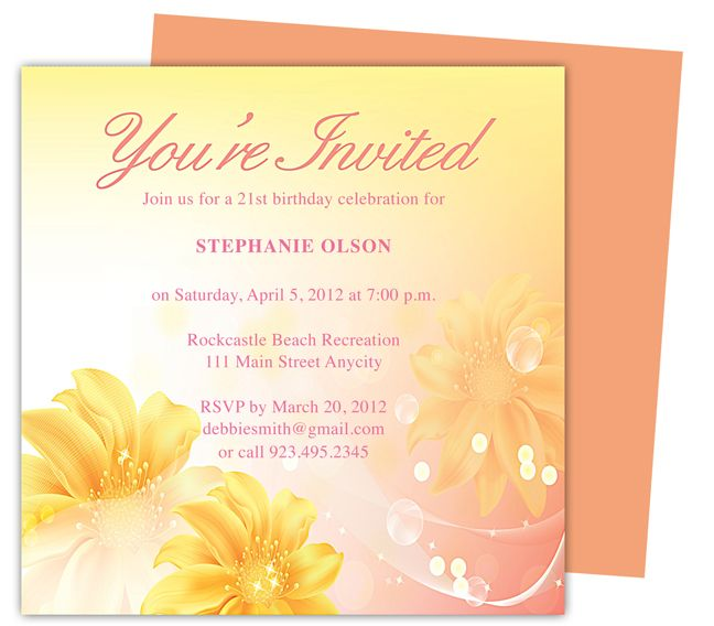 Sheer Birthday Party Invitation Templates. Use with Word, OpenOffice ...