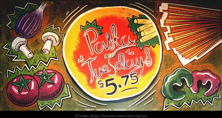 Chalkboard Menu Sign Art Illustration Boston Pizza Pasta Tuesdays by Lenora Cairns www.hotgraphics.ca