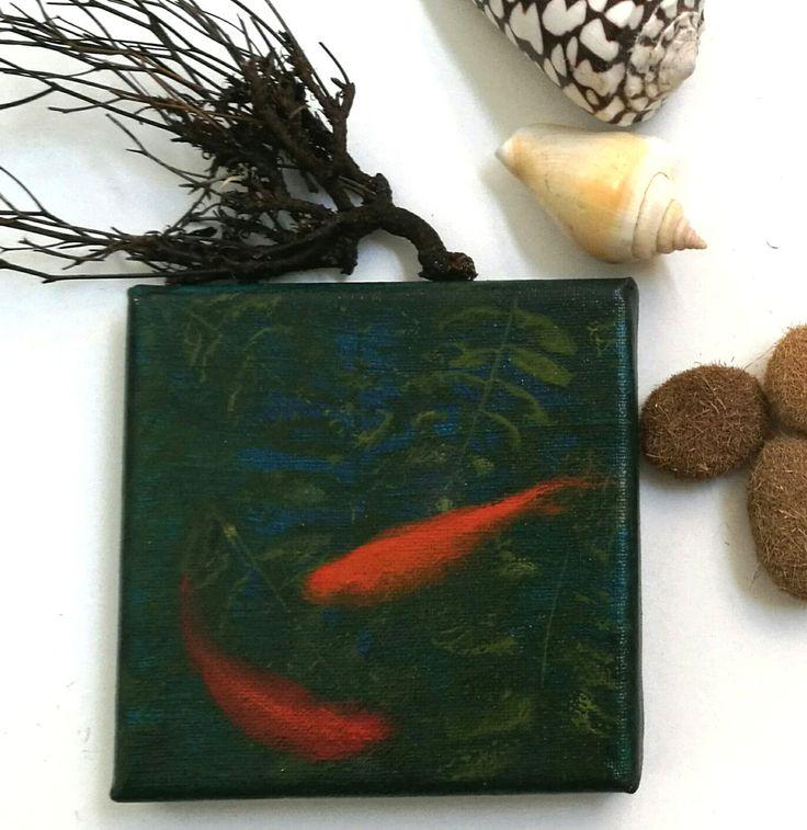 Mini cuadro de peces / Mini quadro di pesci rossi / mini goldfish painting/ olio e acrilico su tela di 10x10cm de ValFishShop en Etsy