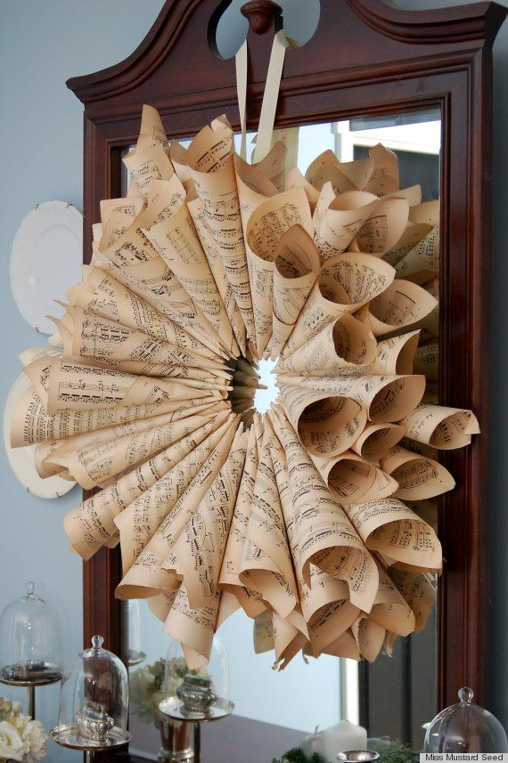 sheet music crafts- I love the wreath!