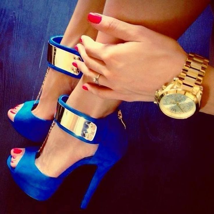 Gorgeous Blue Ankle Strap Pee-toe Heels