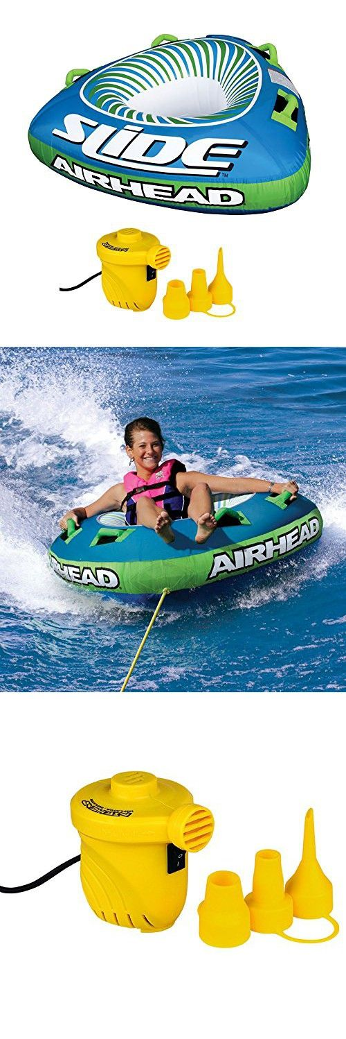 Airhead Slide Single Rider Inflatable Towable Tube + 12V Portable Air Pump
