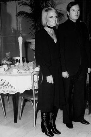 "Barbara Hulanicki and Fitz.""Fitz and I. Biba black crepe dress with my beloved black satin sample boots...they were stolen at the end of the party."""