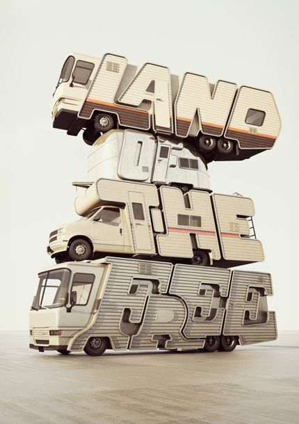 Land Of The Free by Chris LaBrooy | 3D Vehicle Typography