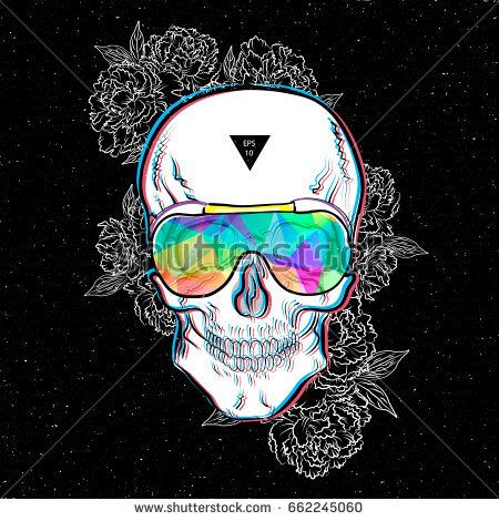 Skull in sunglasses iridescent mirrored sunglasses on flowers background. Vector illustration EPS10. Design a poster for a t-shirt. Great cool print on the sweatshirt. Black and white human skull.