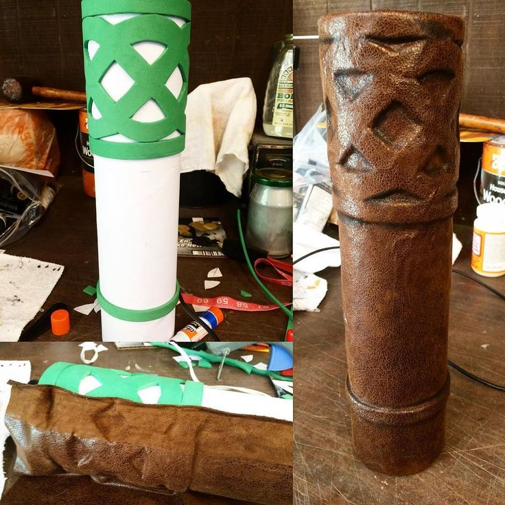 Here's a look at how I made Merida's arrow quiver! I used a cardboard shipping tube ($3 at Staples) $.99 craft foam and leftover faux leather fabric from when I cosplayed as Astrid from HTTYD a couple years ago. I cut out the foam into strips and into a Celtic knot design glued it to the tube and covered it with the fabric using hot glue and a chopstick to press the fabric into the holes. I also painted the inside of the tube black so it won't be as noticeable (: #props #merida #brave…