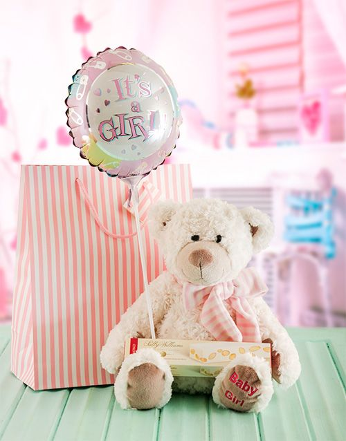 Buy Its a Girl Teddy and Nougat Gift Hamper Online - NetFlorist