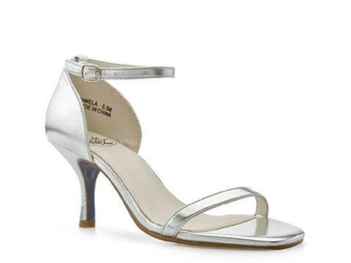 Blue Tux Pamela Soft Metallic Silver Sandal Size 9.5 for $88.00. Blue Tux Pamela soft metallic silver sandals are both timeless and en-trend. Designed for a secure fit, the subtle sole balances the high heel. Elegant with a touch of edge, these gorgeous sandals are certain to become your new go-to style. Great for office, getaway or lavish party.