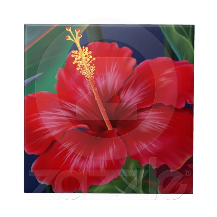 Tropisches Paradies-hawaiische Hibiskus Fliesen u. von Zazzle.de