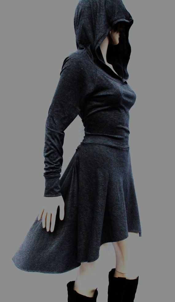 Dress Grey Dress Casual Day Dress Low High by MIRIMIRIFASHION